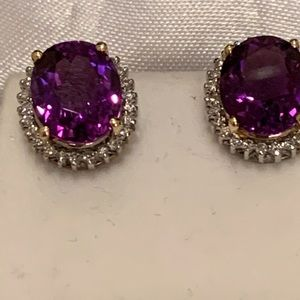 14k Amethyst &diamond halo lever back earrings 14k